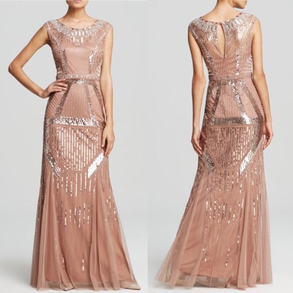 Aidan Mattox Dresses | Beaded Rose Gold Gownonly Worn Once | Poshmark